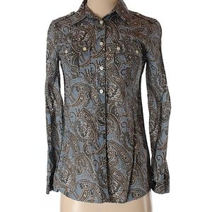 Paisley blue olive white blouse S